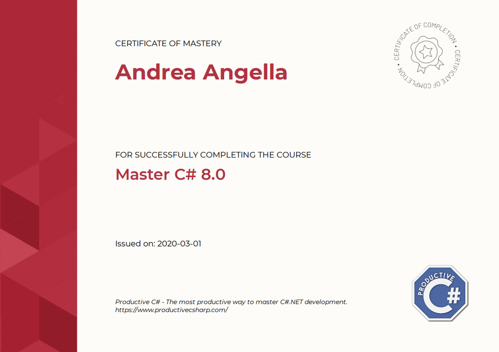 Master C# 8.0 Certificate of Mastery
